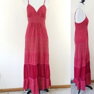 American Rag red tiered maxi dress size large